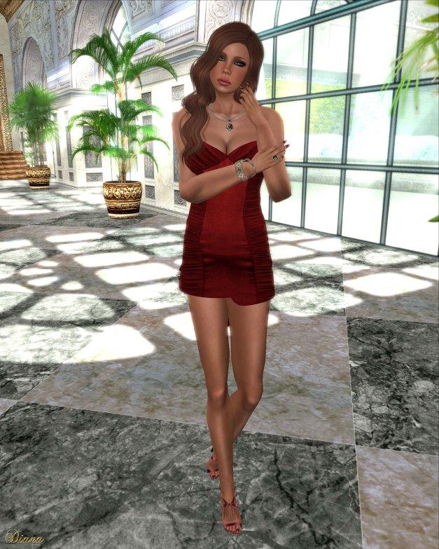Hudson`s Clothing - Red Cocktails Mesh Slip Dress