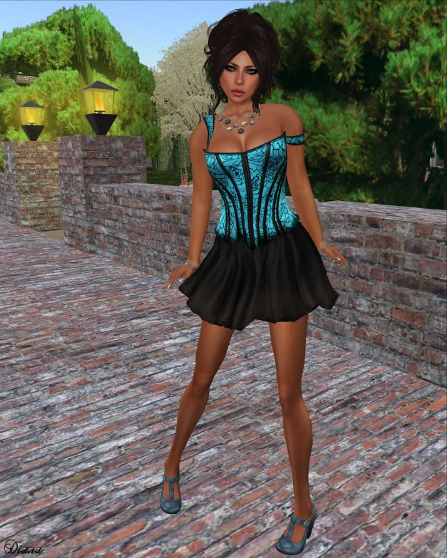 League - Nyx Corset -Dayglo and Nyx Skirt
