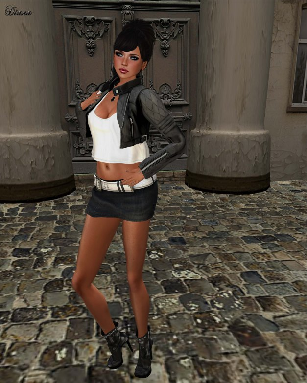 NS - Chilo's Mini Skirt Mesh and Coco - CroppedBikerJacket-1