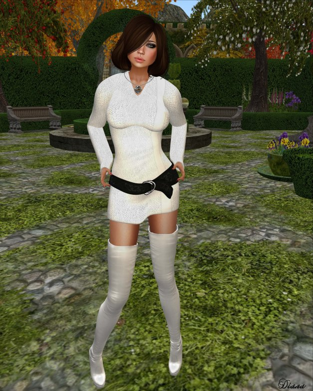 Sakide -  Soft Sweater Dress white