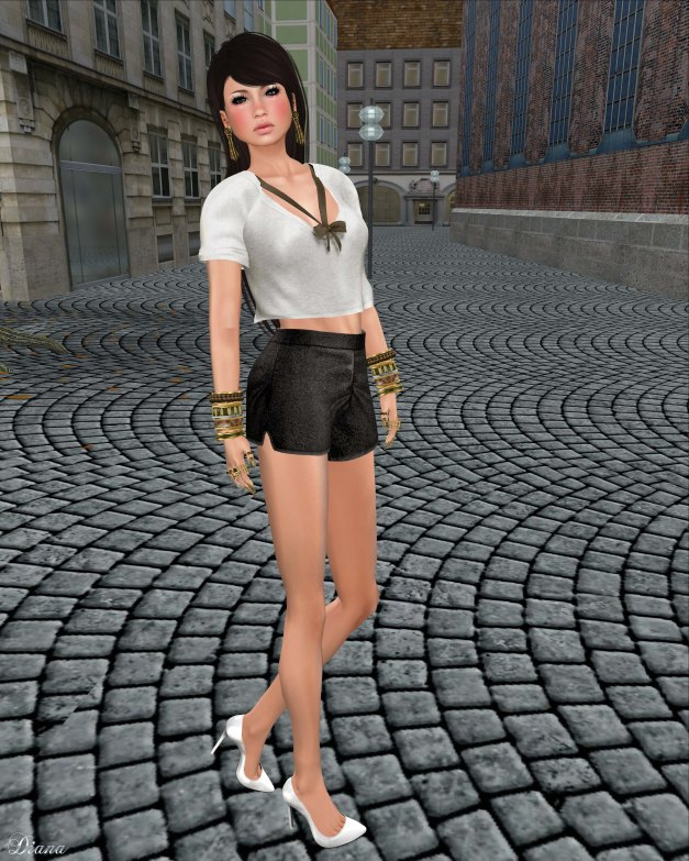 Tres Blah - Banded Cropped Top and Metallic Glitter Shorts