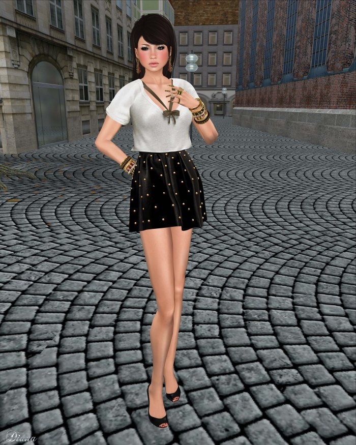Tres Blah - Banded Cropped Top and Studded Skirt