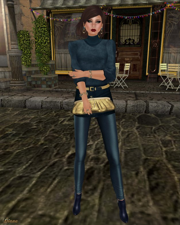 Baiastice - Zoe high neck sweater blue and Zoe combination blue