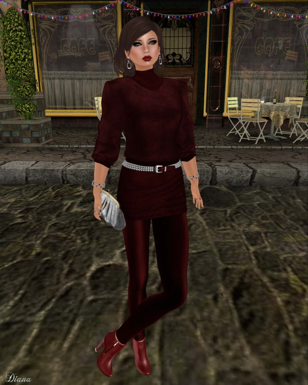 Baiastice - Zoe high neck sweater red and Zoe combination red