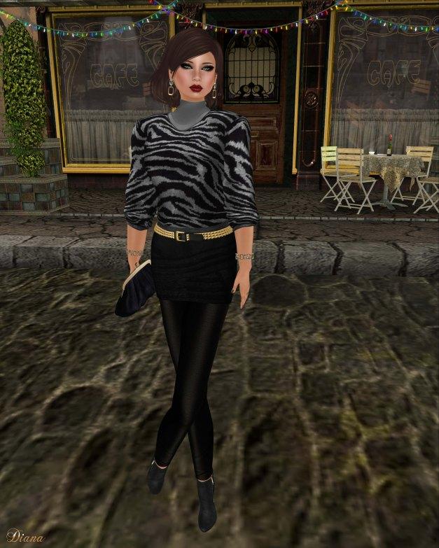 Baiastice - Zoe high neck sweater silver zebra and Zoe combination black
