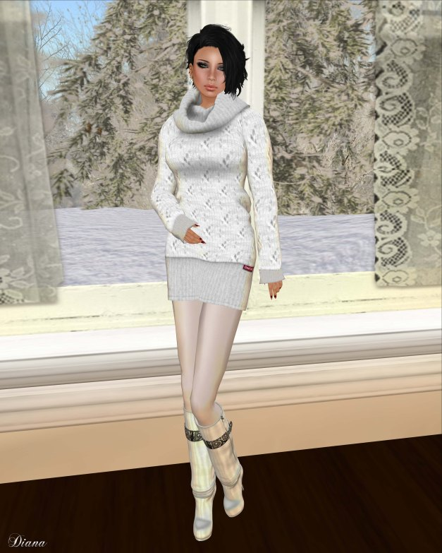 DeeTaleZ - Mesh thick long wool SweaterDress-1