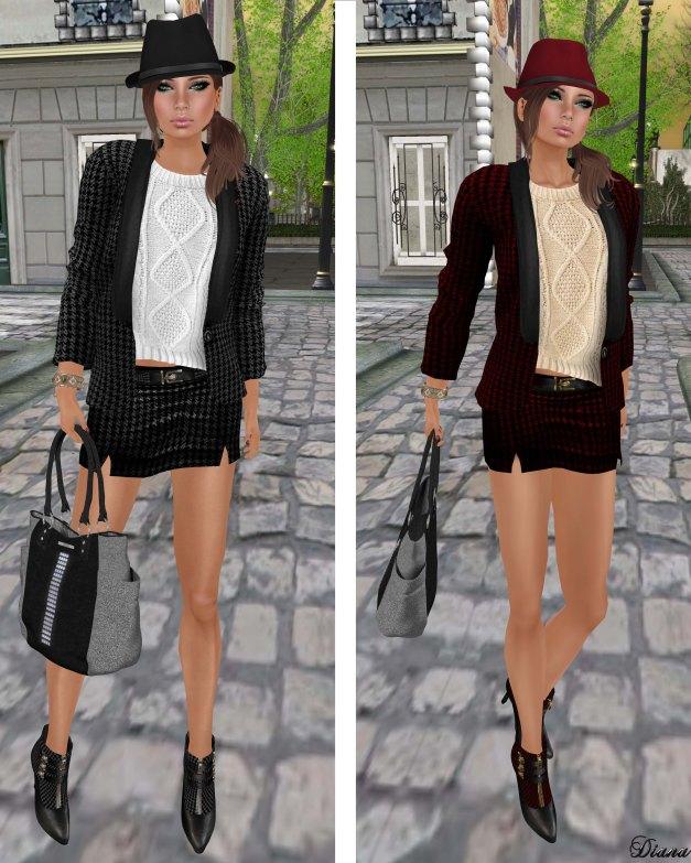Hudsons Clothing - Sweet Tweed Blazer Set Black and Red