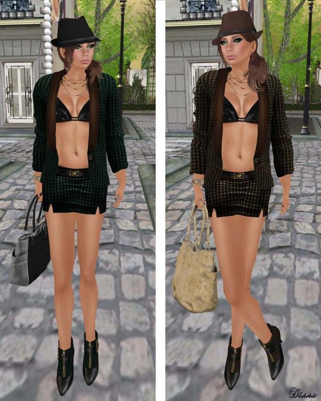 Hudsons Clothing - Sweet Tweed Blazer Set Green and Brown
