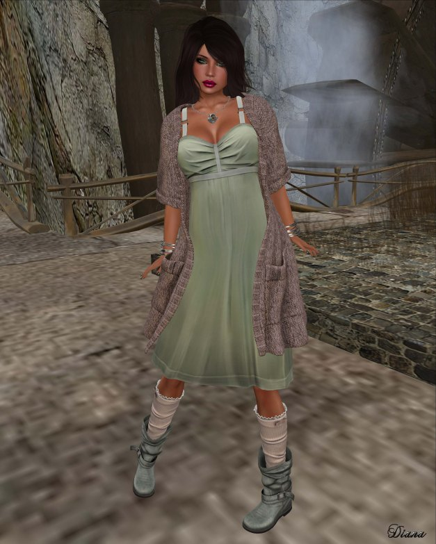 Maitreya - Poise Dress Laurel Green and Wool Cardigan Rosy Brown