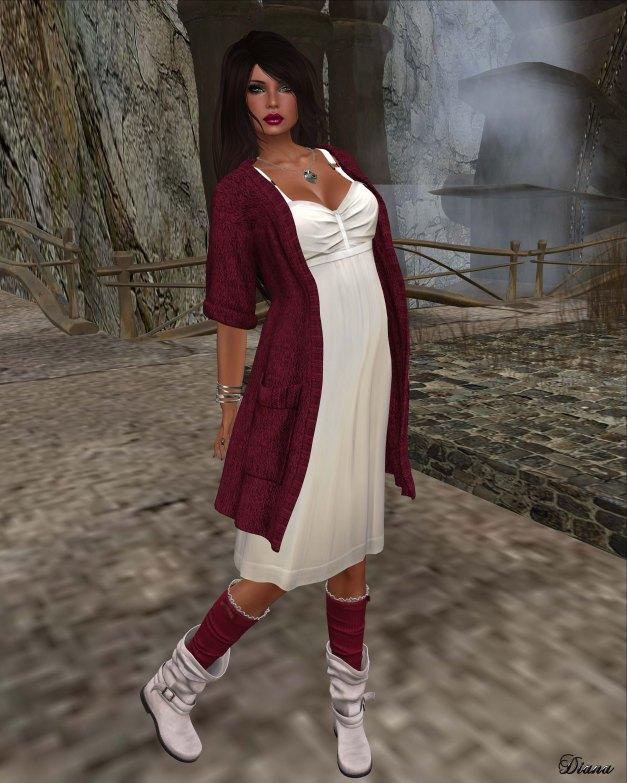 Maitreya - Poise Dress Milk and Wool Cardigan Carmine