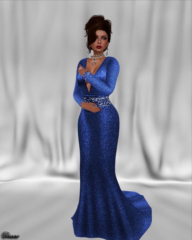 !Rebel Hope - Asia Mesh Formal Gown Blue Brilliance