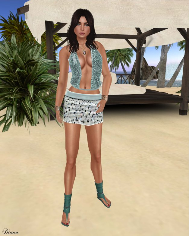 Valentina E - Kylie Sequin Top Teal and Kylie Sequin Embroidered Skirt Teal-1