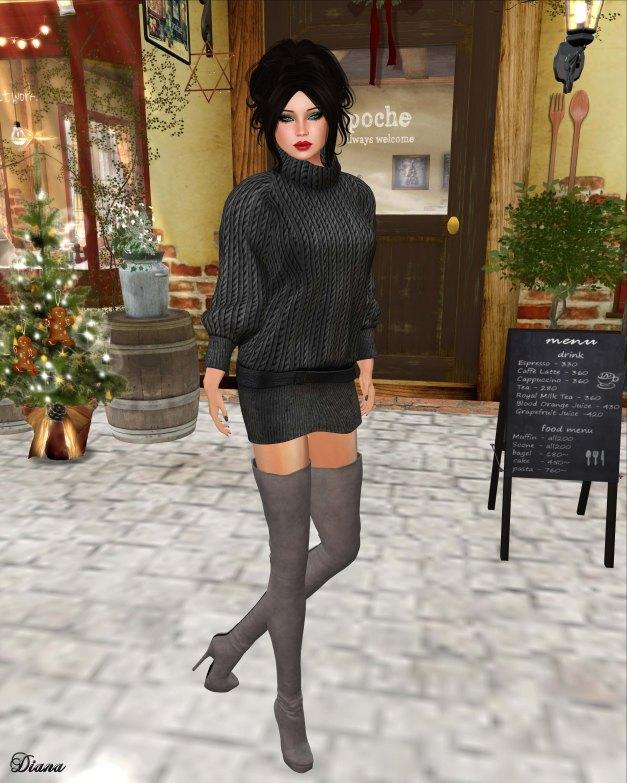 Valentina E - Oversized Sweater Dress Charcoal-1