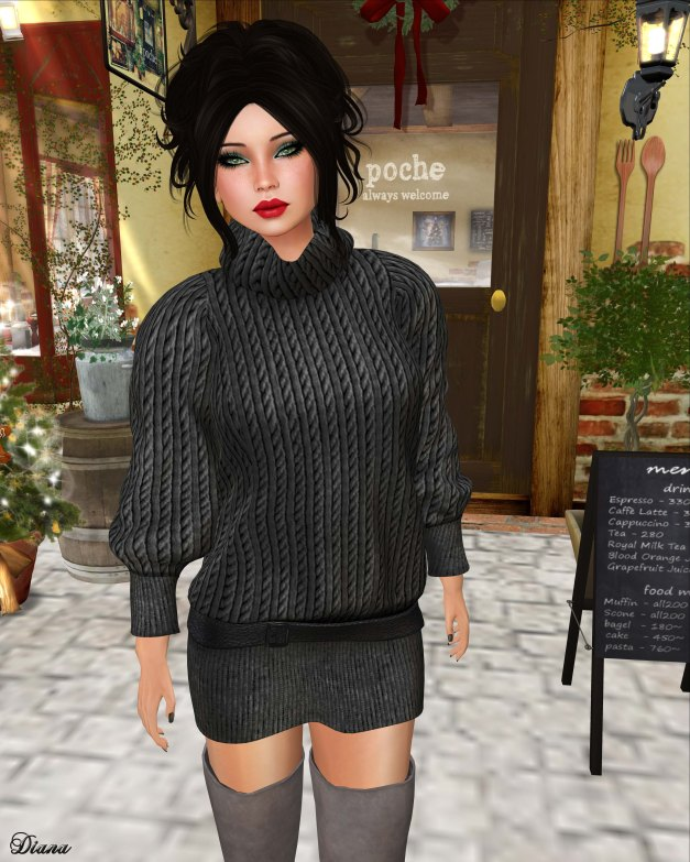 Valentina E - Oversized Sweater Dress Charcoal-2