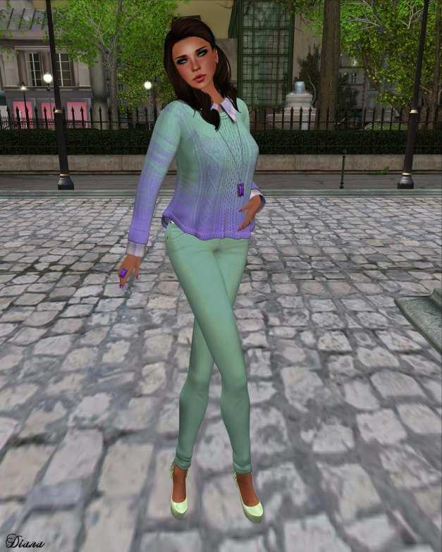 Cracked Mirror - Bailey Sweater and Mambo Pastel Jeans