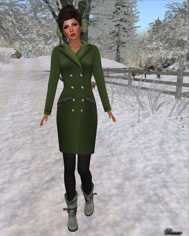 !Rebel Hope - Jackie Mesh Coat Dress Green