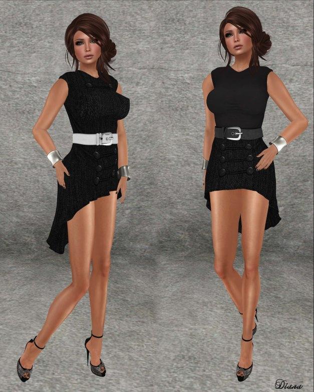 Sakide - Tweed Style Dress Black-1