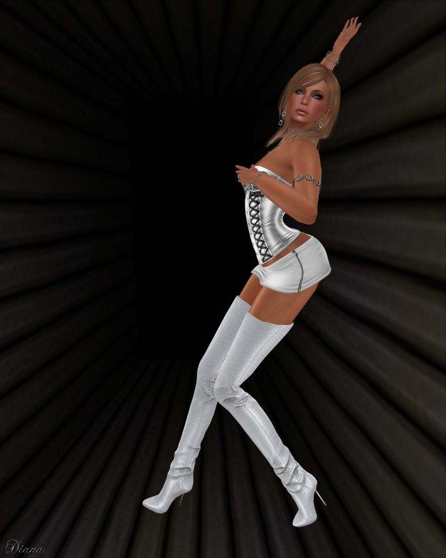 Maitreya - Thigh High Boots Silvery White Croco