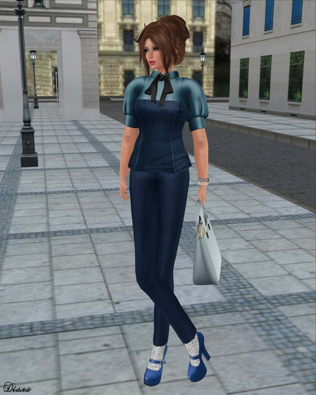 Baiastice - Wify Corset & Shirt and Mika high waisted trousers-cobalt