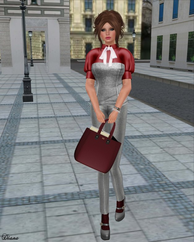 Baiastice - Wify Corset & Shirt and Mika high waisted trousers-silver