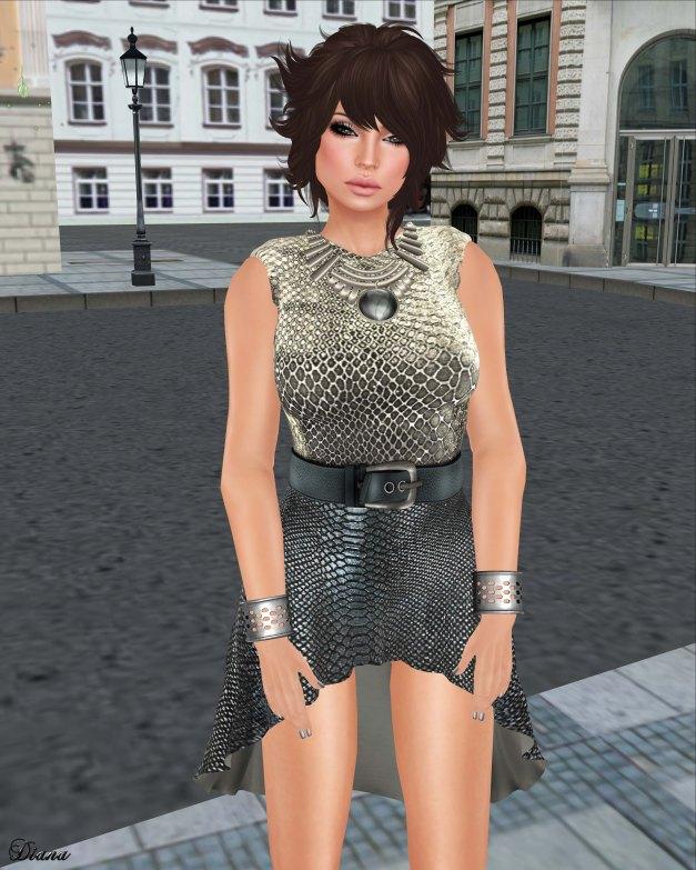 GizzA - Belted Dress Snake Stone