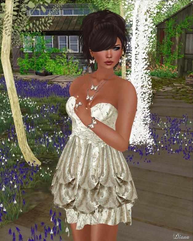 Hudsons Clothing - Glowing Spring Satin Cream Dress