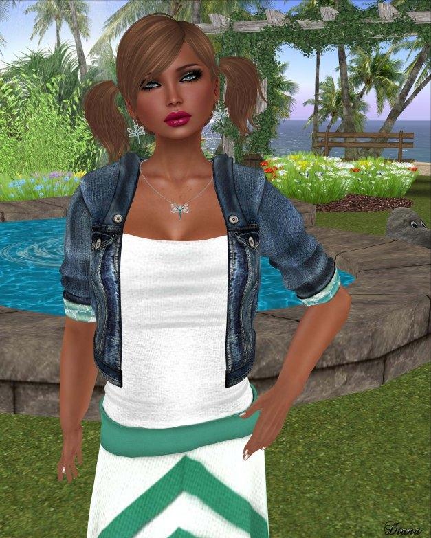 Coquet - Mesh Denim Jacket and Bohemian Chevron Dress-2