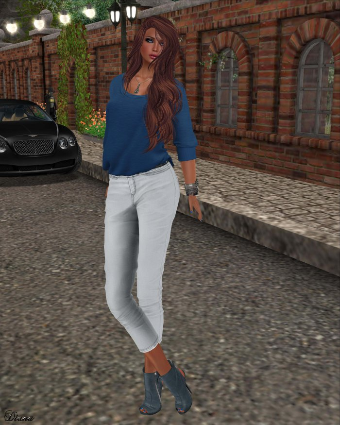 Maitreya -  Half Tucked Shirt Blue and Cropped Pants Light Grey