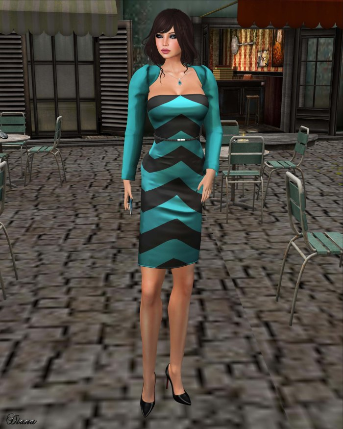 Valentina E - Strapless Chevron Dress & Shrug-1