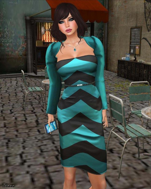 Valentina E - Strapless Chevron Dress & Shrug-2