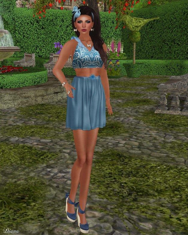 Baiastice - Cabana top blue batik and Fiore skirt celeste