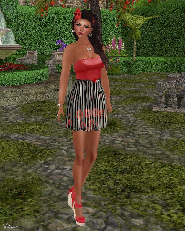Baiastice - Mini top poppy and Fiore skirt poppystripes