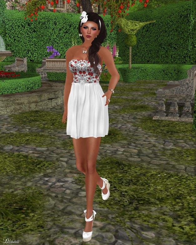 Baiastice - Mini top roses and Fiore skirt white