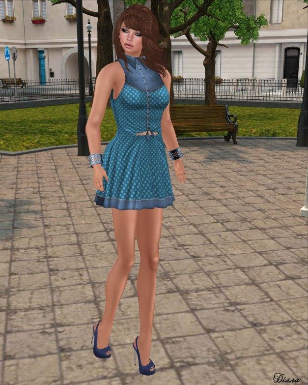 DCNY - Dillydally Dress BlueGreen Polka Dot
