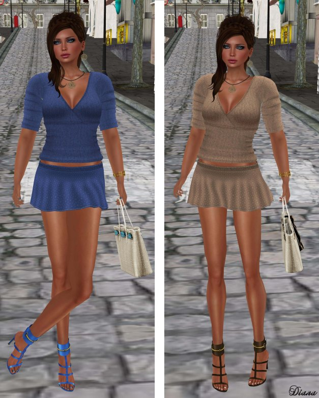 !Rebel Hope - Pippa Mesh Sweater and Nadia Mesh Skirt Blue and Tan