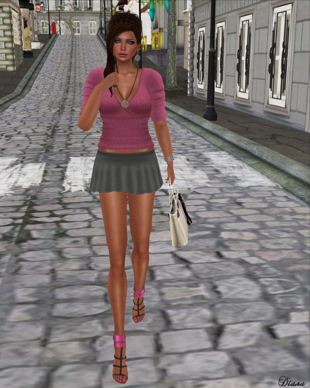 !Rebel Hope - Pippa Mesh Sweater Pink and Nadia Mesh Skirt Gray
