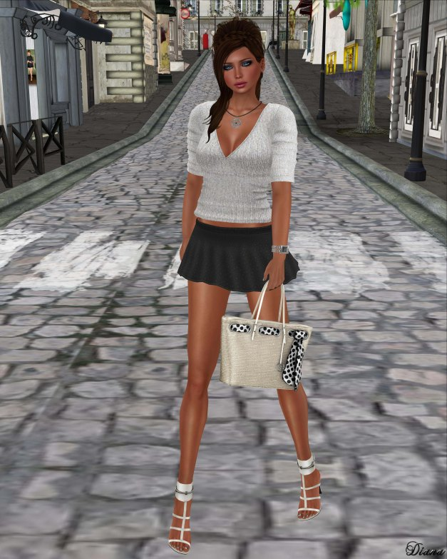 !Rebel Hope - Pippa Mesh Sweater White and Nadia Mesh Skirt Black