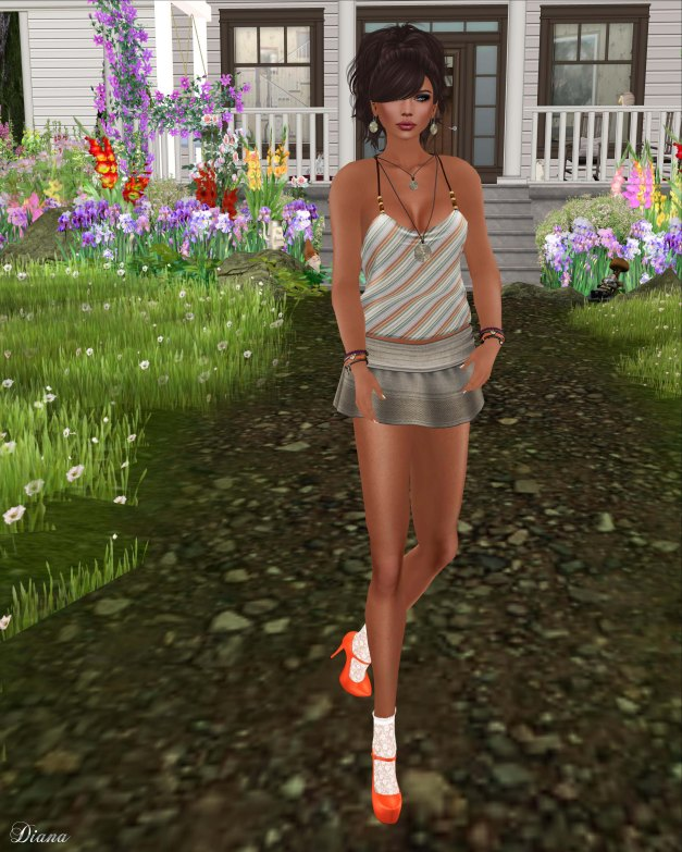 smesh -  OrangeStripe Summer Tank and Trendy Mini Skirt-1
