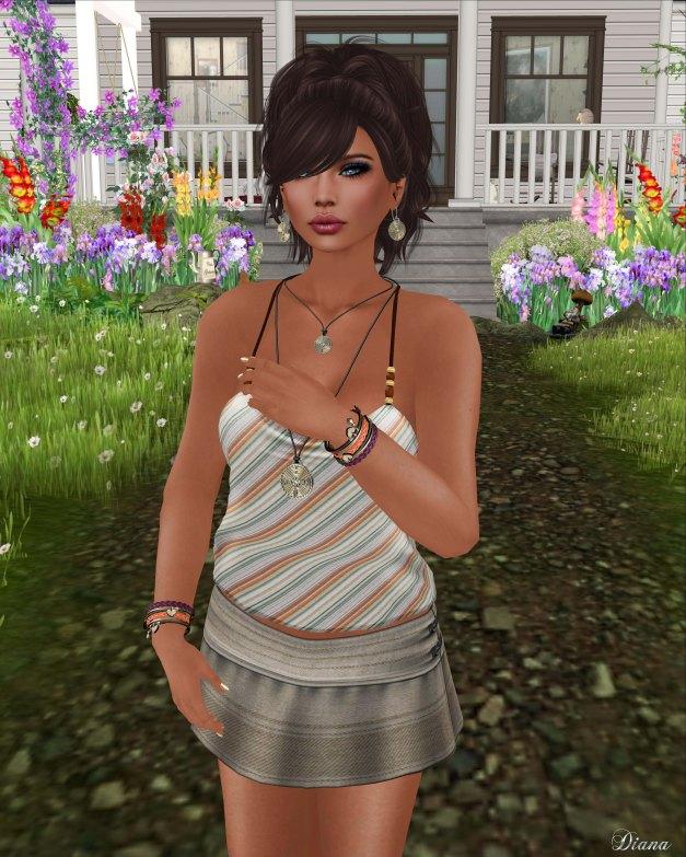 smesh -  OrangeStripe Summer Tank and Trendy Mini Skirt-2