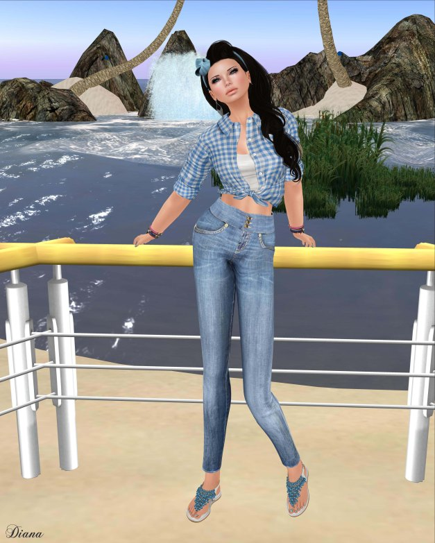 Teefy - Laura Unbuttoned Knotted Shirt and Leah High-Waisted Skinny Jeans-1