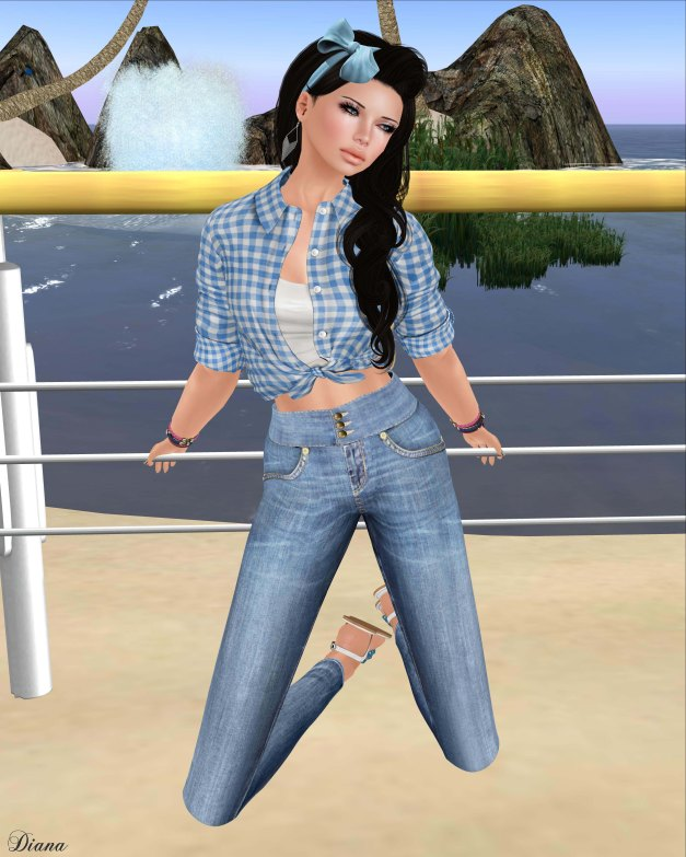 Teefy - Laura Unbuttoned Knotted Shirt and Leah High-Waisted Skinny Jeans-2
