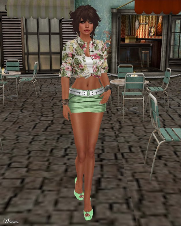 Teefy - Laura Unbuttoned Knotted Shirt Floral and Fashionnatic - Zelda Zipped Skirt