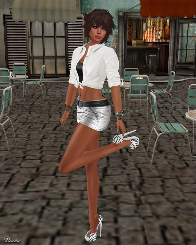 Teefy - Laura Unbuttoned Knotted Shirt White and Fashionnatic - Zelda Zipped Skirt