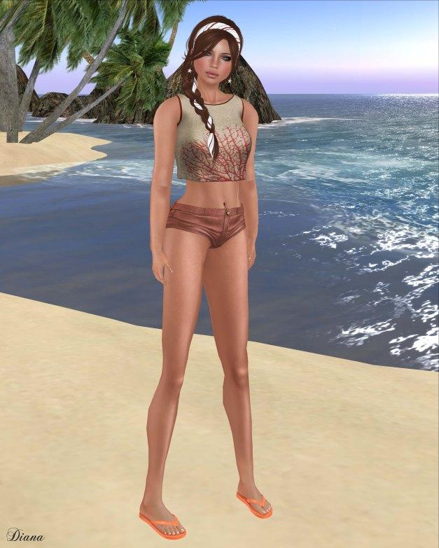 Baiastice - Marina shirt juta&coral and Joie shorts light coral