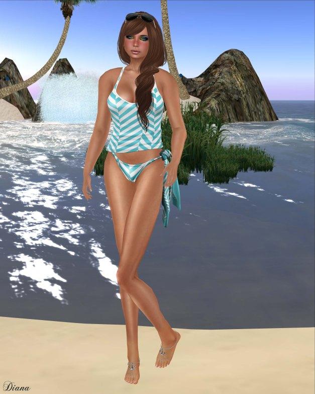 GizzA - Nautical Bikini Aqua and Knotted Scarf Crosswise