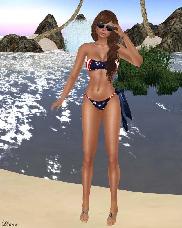 GizzA - Nautical Bikini Sailing and Knotted Scarf Blue