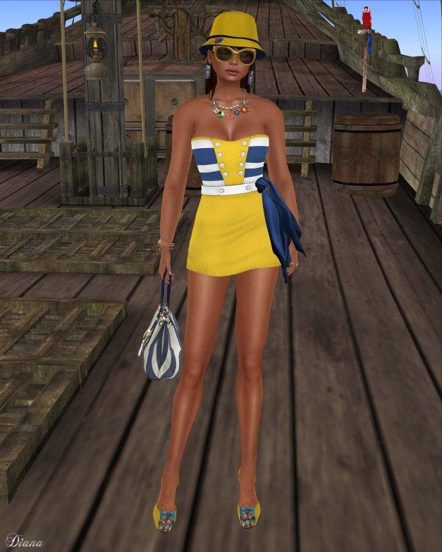 GizzA - Sailing Dress Striped Lemon
