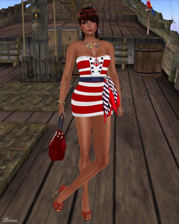 GizzA - Sailing Dress Striped Red