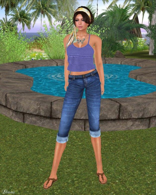 Lapointe & Bastchild - Bianca Camisole Top Knit Color and Capri Pants Denim-2