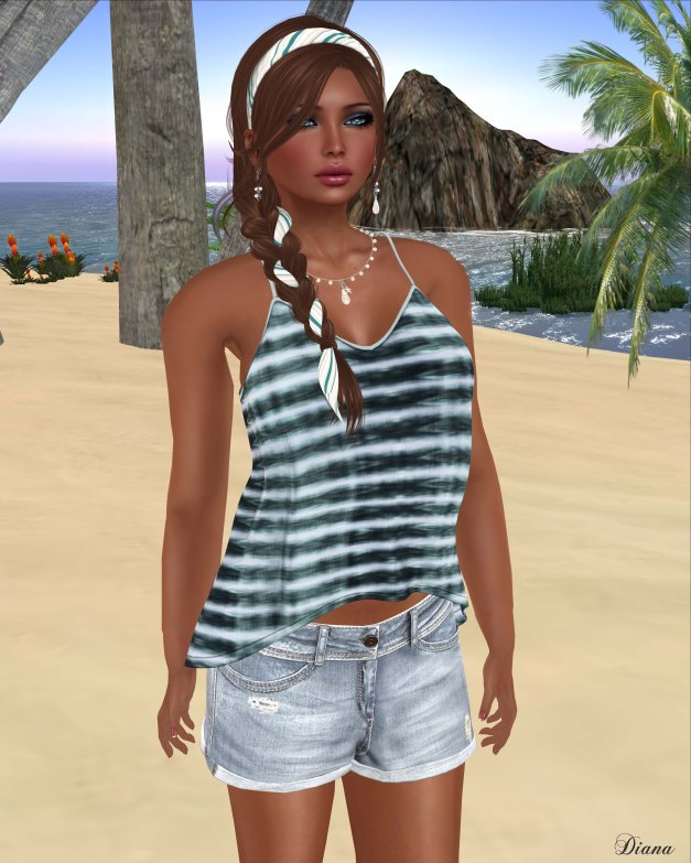 Maitreya - Ana Top Tie Dye Gem and BF Jeans Shorts Washed Out